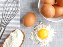 Chicken Rind Eggs, Flour, Ingredients And Props Shape And Corolla For Cooking Homemade Baking Flat Lay