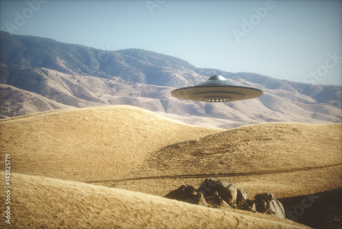 Photo sur Toile UFO UFO - Unidentified Flying Object. Alien space ship flying on planet Earth.