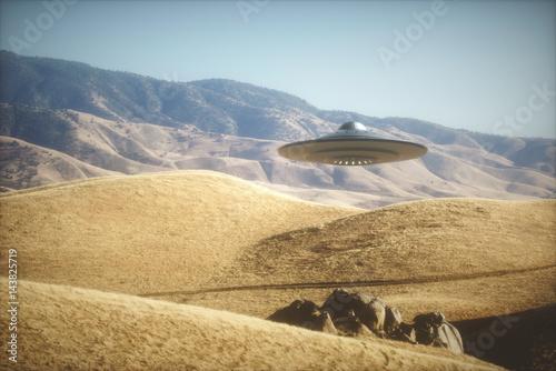 Fototapeta UFO - Niezidentyfikowany obiekt latający. Obcy astronautyczny statek lata na planety ziemi.