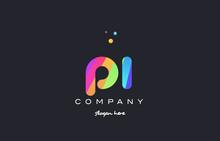 Pi P I  Colored Rainbow Creative Colors Alphabet Letter Logo Icon