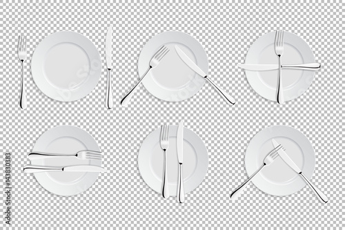 Vector realistic cutlery and signs of table etiquette  Catering
