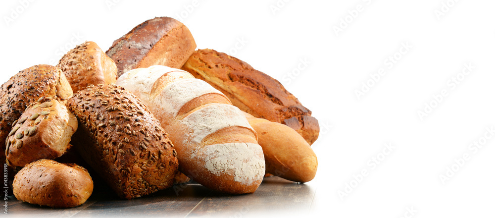 Composition with assorted baking products isolated on white