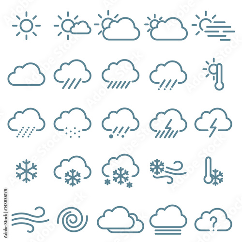 Fototapeta Thin line weather icon  set.