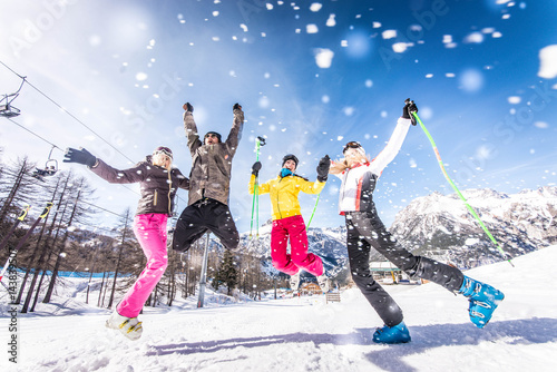 Fototapeta Friends on winter holidays