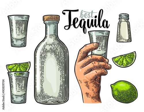 Canvas Print Set tequila. Hand hold glass, bottle, salt, lime whole and slice.