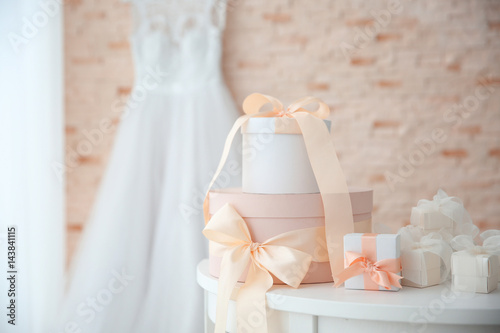 Fotografija Table with gift boxes for wedding day
