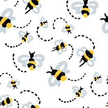 Seamless Abstract Pattern. Hand Painted Brush Bee On A White Background. Background For Textile Or Book Covers, Manufacturing, Wallpapers, Print, Gift Wrap.