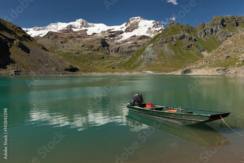Poster Reflexion View to Monte Rosa mount and Gabiet Lake. Italian Alps