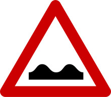 Warning Sign With Road Bumps