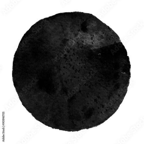 Pinturas sobre lienzo  Watercolor black circle on white background.