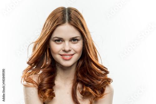 red hair curls beautiful smile woman bare shoulders