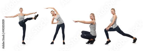 Foto op Plexiglas Fitness Young woman doing sports isolated on white