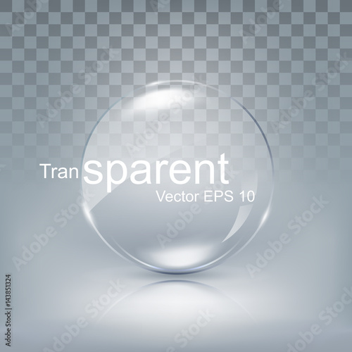 Modern transparent circle lens, sphere glass for button with shadow on white bac Wallpaper Mural