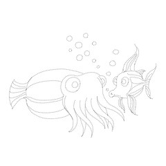 Children's Coloring Page - Sea Creatures: trace and color