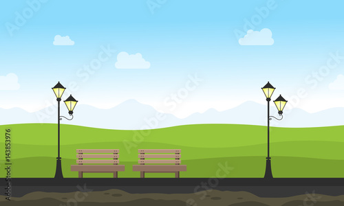Fototapeta Background game for garden with chair and lamp obraz