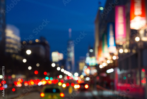 Plagát  Blurred night lights of Manhattan street in New York City, NYC