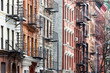 Colorful row of buildings East Village of Manhattan New York City NYC