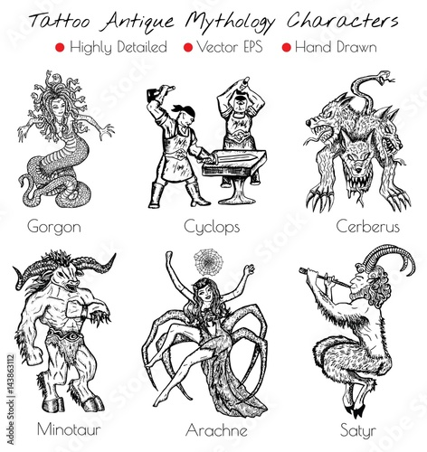 Tattoo set with hand drawn antique mythology characters Wallpaper Mural