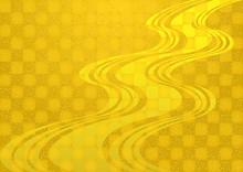 水流模様と金箔 和風...