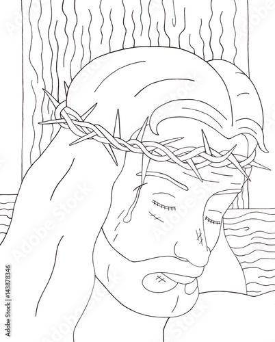 Leinwand Poster Face of Christ (Coloring Page)