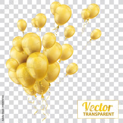 Golden Transparent Balloons Bunch Wallpaper Mural