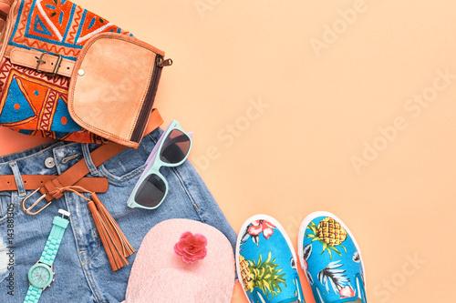 Plakát  Fashion Design Woman Clothes Accessories Set