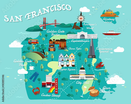 Photo  Map Of San Francisco Attractions Vector And Illustration.