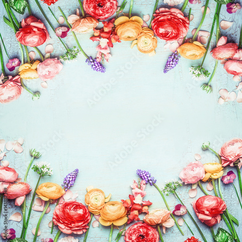 Floral Frame Of Lovely Colorful Flowers On Blue Turquoise Shabby Chic Background Top View