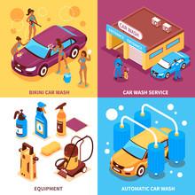 Car Wash Isometric Design Conc...