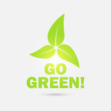 Go Green! Eco Icon With Leaves...