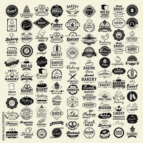Photo  100 Bakery logotypes set