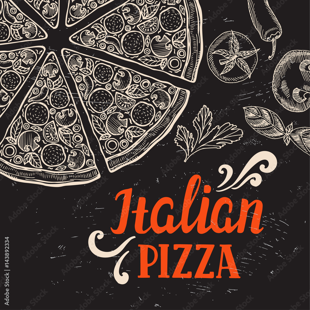 Pizza poster for restaurant and cafe. Foto, Poster, Wandbilder bei ...