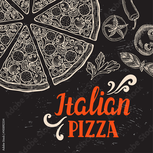 Pizza poster for restaurant and cafe. Fototapet