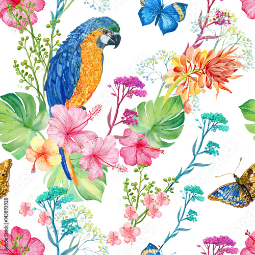 Poster Parrot seamless pattern ,watercolor illustration .parrots and flowers