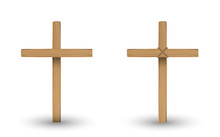 Real Wooden Cross On A With Ba...