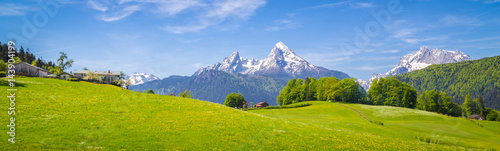Idyllic landscape in the Alps with blooming meadows and farmhouse in summer