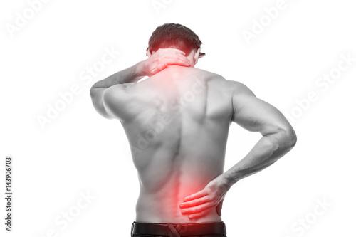 Fotografía  Close up of man rubbing his painful back