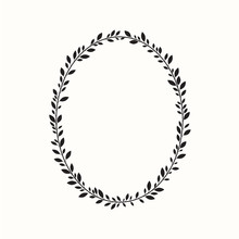 Laurel Wreath, Oval, Ellipse. Vector Illustration