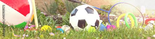 Photo  panorama mit sommer outdoor spielzeug