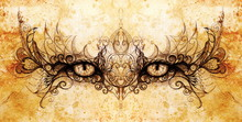 Mystic Eye And Beautiful Ornamental. Drawing On Old Paper, Original Hand Draw. Color Effect.