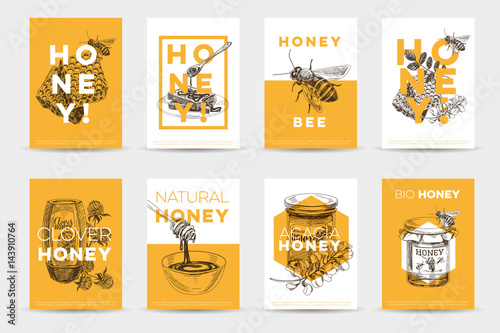 Vector hand drawn honey Illustration. Fototapete