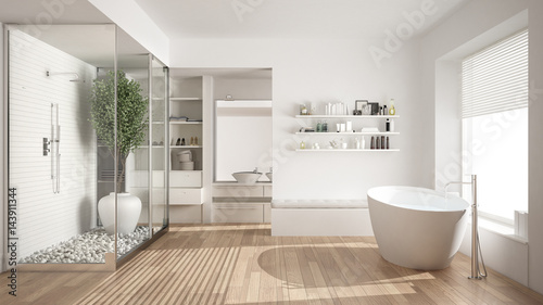 Fotografia  Minimalist white scandinavian bathroom with walk-in closet, classic scandinavian