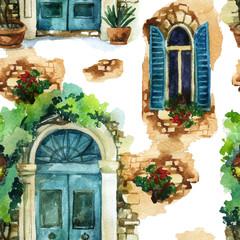 Panel Szklany Podświetlane Do przedpokoju Watercolor traditional vintage windows and door seamless pattern