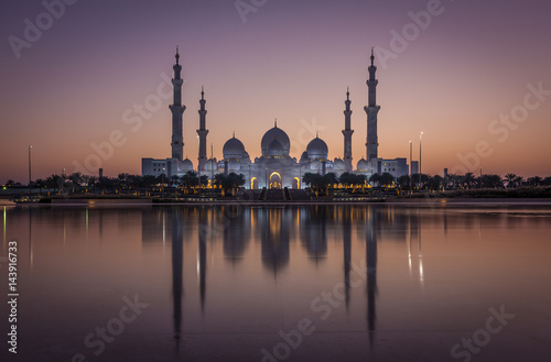 In de dag Abu Dhabi Sheikh Zayed Grand Mosque