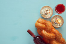 Shabbat Image. Challah Bread, Shabbat Wine And Candles