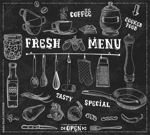 Kitchen tools, food ingredi...