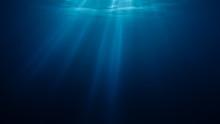 3D Rendered Illustration Of Sun Light Rays Under Water.