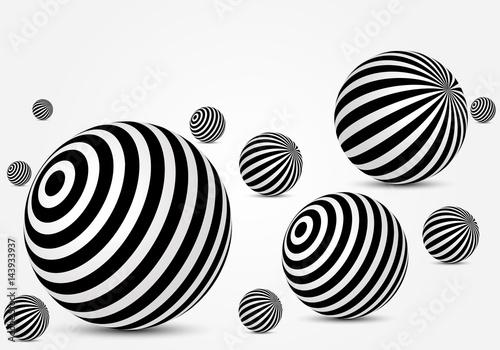 Fototapeten Künstlich Black and white striped balls