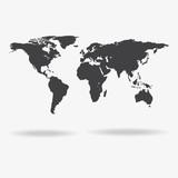 Grey Political World Map Illustration