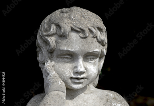 Vintage Stone Garden Statue Of Young Girl With Hand On Cheek